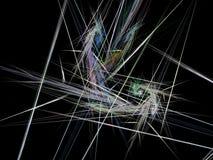 与多彩多姿的光芒的储积的抽象分数维 免版税库存照片