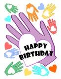 与多彩多姿的心脏的生日快乐海报在棕榈主题 库存图片