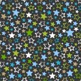 与多彩多姿的星的无缝的样式在黑暗的背景 免版税库存图片