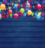 与多彩多姿的气球和hangin的木假日背景 向量例证