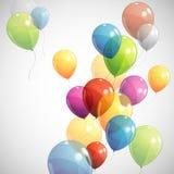 与多彩多姿的气球的背景 免版税库存照片