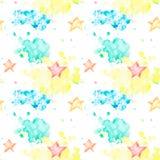 与多彩多姿的水彩斑点和星的无缝的样式 皇族释放例证