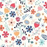 与多彩多姿的花的无缝的样式 免版税库存照片