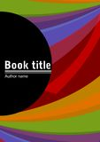 与多彩多姿的被弧形化的小条的抽象构成,自己的文本的地方的书套模板在一个黑半圆 库存图片