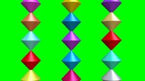 与多彩多姿的锥体集合的介绍动画在3d在绿色屏幕上的设计 锥体弯曲,相交,闯进小组 向量例证