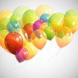 与多彩多姿的飞行气球的背景 库存照片