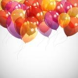 与多彩多姿的飞行气球的背景 库存图片