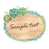 与多汁植物的水彩木切片横幅 免版税库存照片