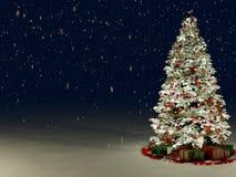 与多的积雪的圣诞树色的 库存照片