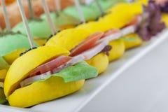 与多种成份的色的微型三明治 免版税库存照片