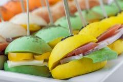 与多种成份的色的微型三明治 图库摄影