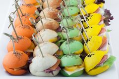 与多种成份的色的微型三明治 库存图片