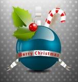 与多种装饰的圣诞节背景 免版税库存照片