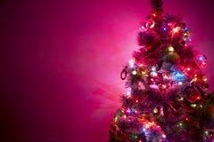 与多色的光的积雪的圣诞树 免版税库存照片