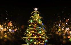 与多色的光的积雪的圣诞树 库存图片