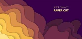 与多色纸裁减形状的传染媒介背景 3d摘要 皇族释放例证