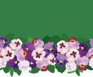 与多色花的无缝的模式边界 库存照片