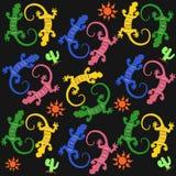 与多色蜥蜴的无缝的样式 库存图片