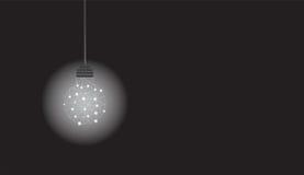 与多角形的垂悬的电灯泡构造发光在黑背景 向量例证