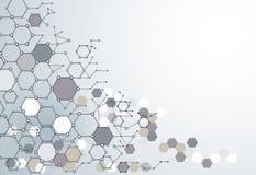 与多角形的抽象脱氧核糖核酸分子结构在浅灰色的颜色 库存照片