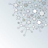 与多角形的抽象脱氧核糖核酸分子结构在浅灰色的颜色 免版税图库摄影