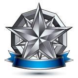 与多角形银色星标志的迷人的传染媒介模板 免版税图库摄影