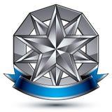 与多角形银色星标志的迷人的传染媒介模板 免版税库存图片