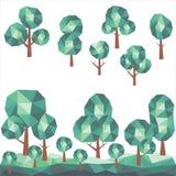 与多角形绿色风景的低多树 库存照片