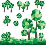 与多角形绿色风景的低多树 免版税图库摄影