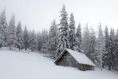 与多雪的房子的意想不到的风景 免版税图库摄影