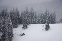 与多雪的房子的意想不到的风景 库存图片