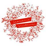 与多雪的霍莉莓果典雅的花圈的圣诞卡  向量例证
