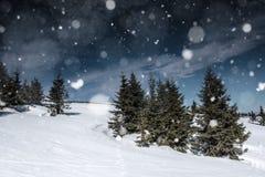 与多雪的风景的圣诞节背景 库存图片