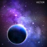 与夜空和星的传染媒介背景 外层空间和银河的例证 免版税库存照片