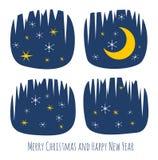 与夜窗口和雪花的减速火箭的圣诞卡 免版税库存照片