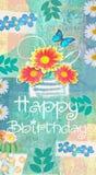 与大丁草、雏菊和butterflie的花卉绿松石明信片 库存例证