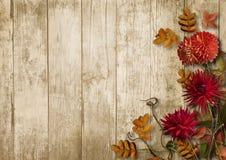 与大丽花的秋天花束在葡萄酒木背景 库存图片