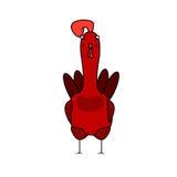 与大冠的红色雄鸡额骨 库存图片