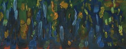 与大刷子冲程的纹理 森林横向油画河 库存图片