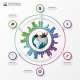 与大厦城市的地球 企业Infographic概念 向量 库存图片
