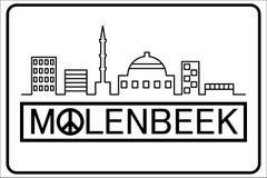 与大厦概述的Molenbeek文本 免版税库存照片