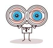 与大双筒望远镜眼睛的动画片商人 向量例证