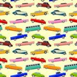 与大型高级轿车的五颜六色的无缝的样式 免版税库存图片