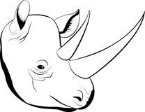 与大垫铁的动画片简单的剪影非洲犀牛,传染媒介 库存照片
