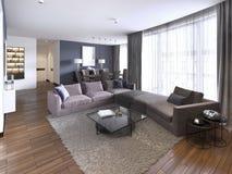 与大壁角沙发的五颜六色的现代公寓和电视存贮和长透明帷幕 皇族释放例证