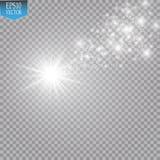 与大尘土流星的明亮的彗星 焕发光线影响 库存例证