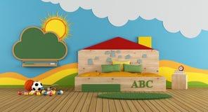 与大床的五颜六色的游戏室 向量例证