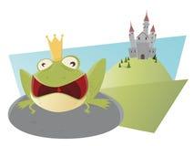 与大开的嘴的呱呱地叫的动画片青蛙 库存例证