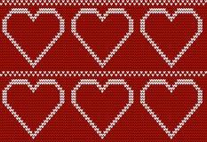 与大心脏的无缝的被编织的样式 免版税库存照片