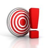 与大惊叹号的红色箭目标 免版税库存图片